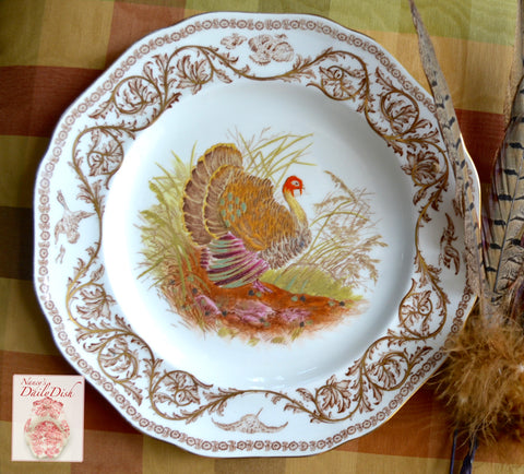 Antique Polychrome Brown Transferware Staffordshire Thanksgiving Turkey Plate Royal Cauldon
