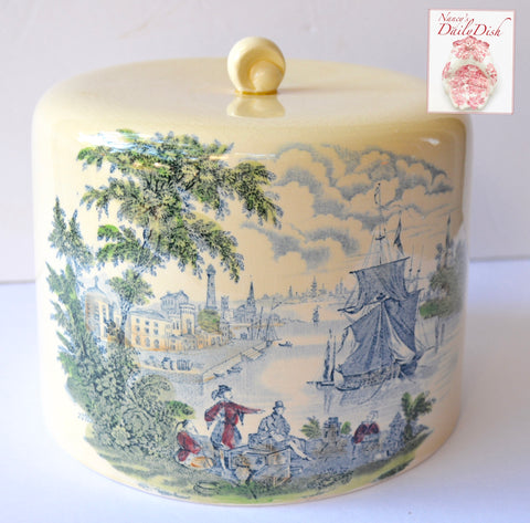 Lovely Vintage Blue Cream Transferware Cheese Bell Cloche Cake Cover w/ Ship Scene