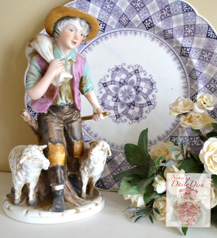 Vintage French Country Figurine Peasant Boy with Sheep / Lambs