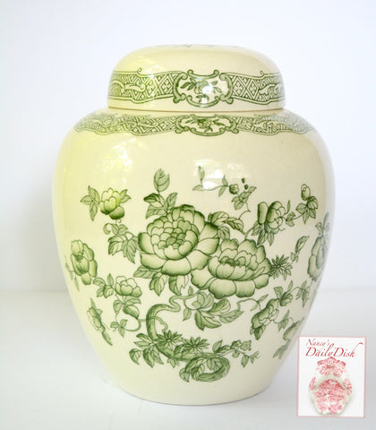 Vintage Green Transferware Floral Chinoiserie Ginger Jar / Cookie Jar Crown Devon