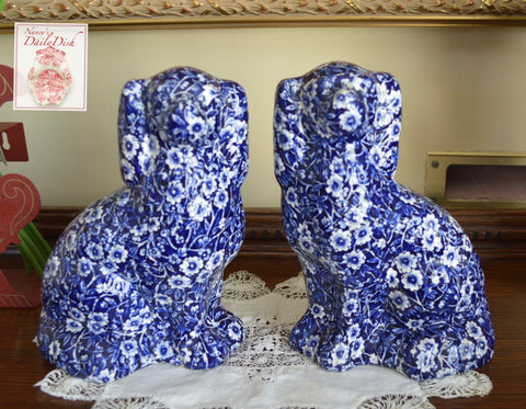 Pair of Blue Calico Chintz English Transferware Staffordshire Spaniel Dogs