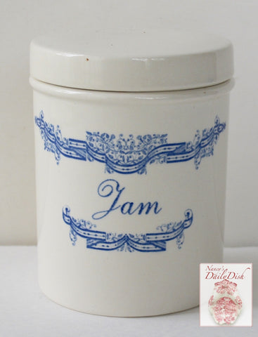 Vintage English Blue and White Transferware Canister Advertising Jar Jam Preserves Pot