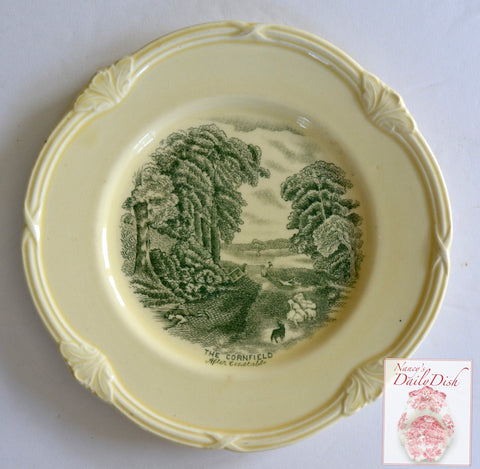 Green & Cream Transferware  Plate Scenes After Constable English  The Cornfield / The Drinking Boy  Pastoral Scene Flock of Sheep