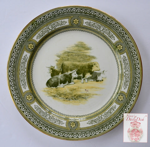 Burslem Doulton Antique Grazing Cattle Cows Charger Plate Green Yellow Transferware Staffordshire China RARE & Green Transferware