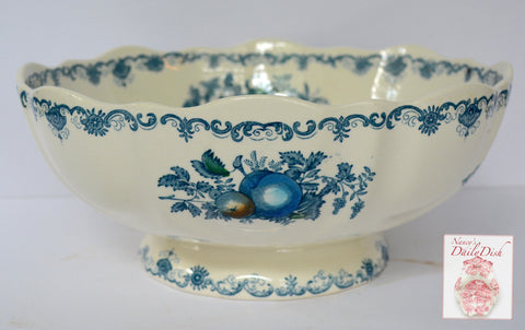 Blue English Transferware Scalloped Bruges Pedestal Bowl Masons Hand Painted Fruits in a Basket