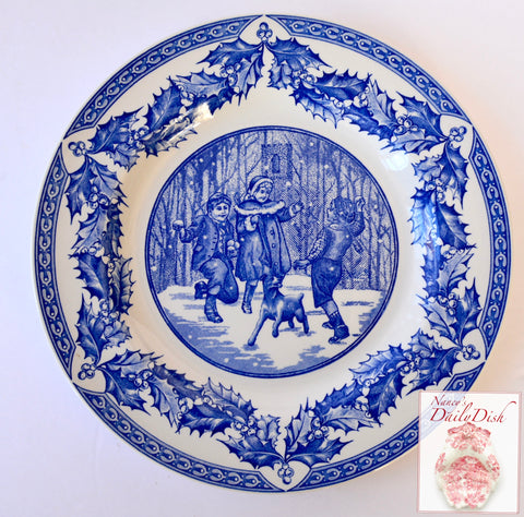 Spode Blue English Transferware Plate Winter Victorian Children & Dog Throwing Snowballs