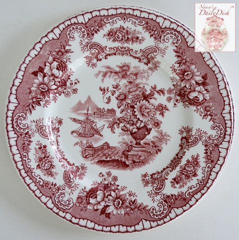 Antique Red Chinoiserie Transferware Salad Plate Ship Sailboat Flowers Roses