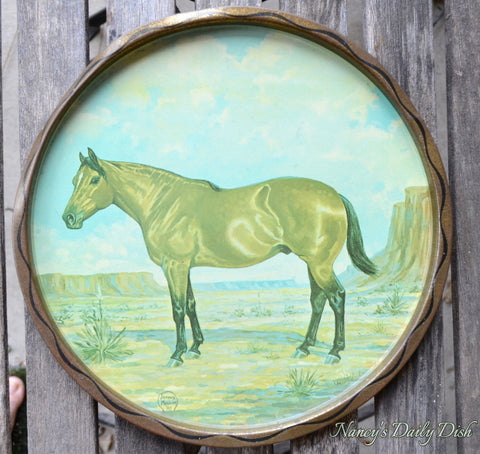 Vintage Stallion Horse Tole Tray Toleware  Hand Painted