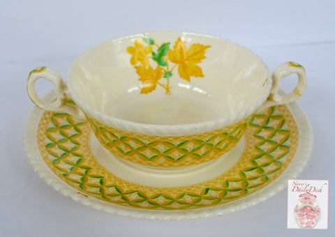 Yellow Transferware Dual Handled Cream Soup Bowl & Plate Spode Copeland Lattice and Geraniums Flowers