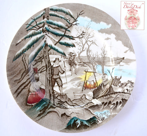 Rare Royal Staffordshire Historical Thanksgiving Landing of the Pilgrims Transferware Plate
