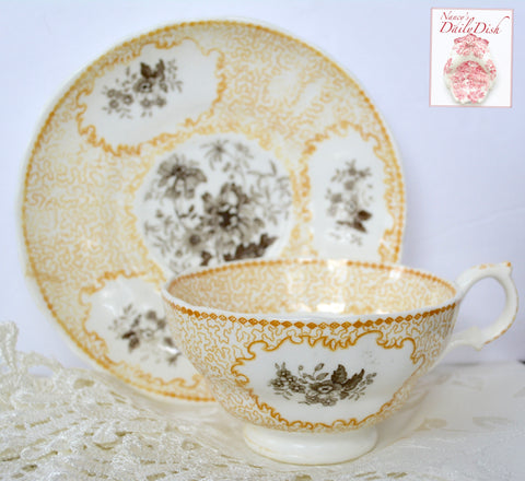 Antique Floral Yellow & Brown Bi Color Transferware Tea Cup & Saucer Circa 1830-40 Staffordshire
