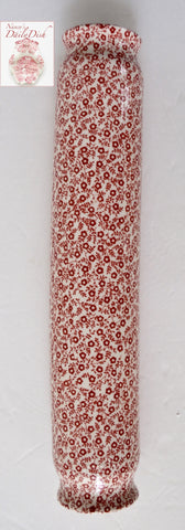 Rare! Red English Ironstone Chintz Calico Transferware Advertising Rolling Pin  Kitchen Decor