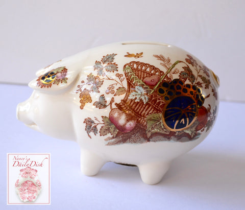 Vintage Figural Masons Fruit Basket Ironstone Transferware Pig Piggy Bank Hard to Find