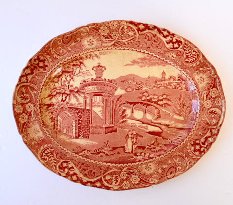 Red Transferware Platter Strolling Couple Gazebo Geometric Border Landscape