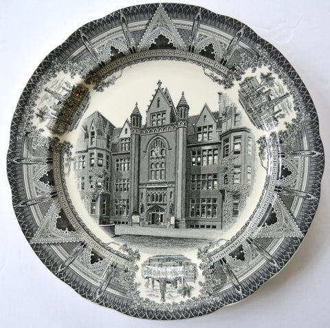 Copeland Spode Black Transferware Charger Plate Cobb Hall Chicago University Stunning Architectural Border