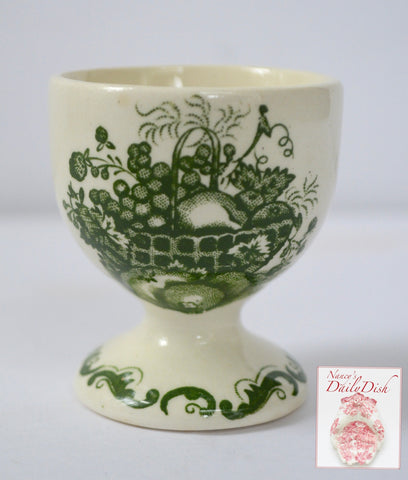 Vintage Green Toile Transferware Egg Cup Bobbi Pin Holder Masons Fruit Basket