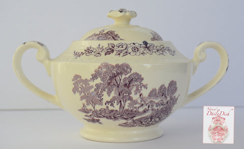 Vintage Lavender / Purple  English Transferware Tea Caddy Sugar Bowl Scenic Boat on River Roses Cottage