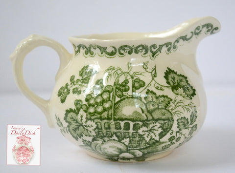 Green English Transferware Creamer Pitcher Masons Fruit Basket