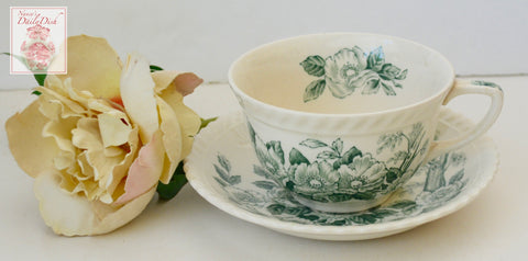 Vintage English Teal Green & White Transferware Teacup & Saucer Apple Flower Dogwood Blossoms