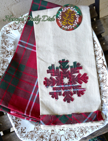 Snowflake Tartan Plaid Farmhouse Kitchen Dish Tea Towel Set of 2 Christmas