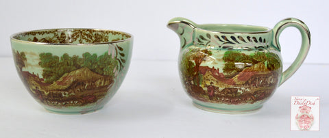Rare Silver Overlay Rural Scenes Poly Brown Transferware Sugar Bowl & Creamer