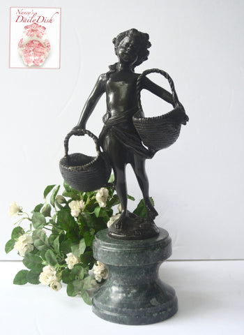 Vintage Bronze Little Girl Figurine / Statue on Green Marble Base Carrying Baskets