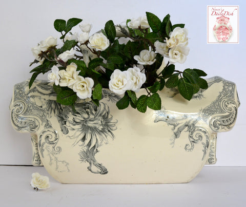 C. 1891 Aesthetic Movement Gray Transferware Planter Wash Stand Doulton Lambeth Aquarius