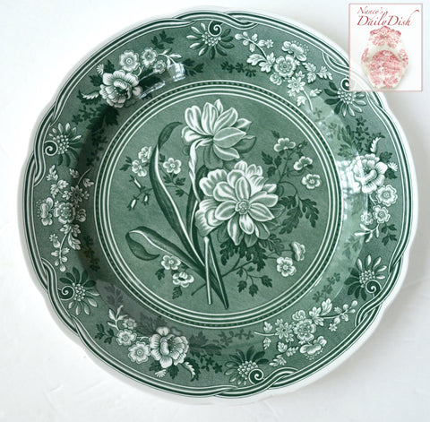 Green Transferware Plate Spode Archive British Botanical Flowers