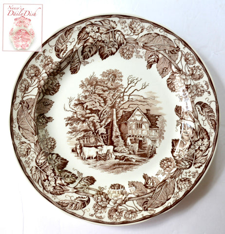 Brown Transferware Plate Copeland Spode Grazing Cows Cattle Cottage Hops Vine