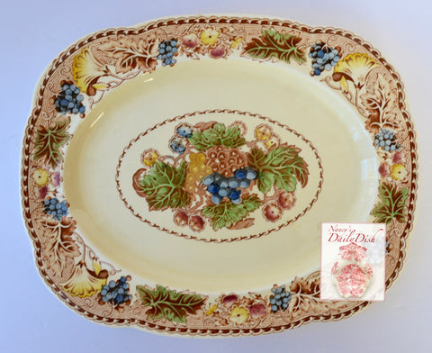 "Wood & Sons Brown Polychrome English Transferware Platter / Large Serving Tray  Flowers & Grapes 14"" Platter Ironstone"