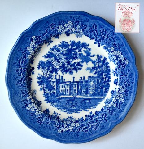 Blue Toile Grazing Deer Merrie England Vintage Transferware Plate English Manor