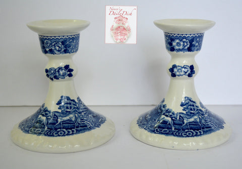Vintage Pair Blue Transferware Candle Stick Holders Horses Sheep Flowers English Scenic Adams