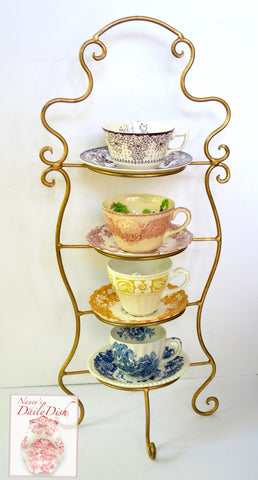 Set 4 Mix n Match English Transferware Teacups & Saucers Purple Yellow Blue Pink