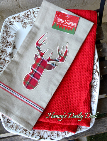 Tartan Plaid Applique Deer Head Farmhouse Kitchen Dish Tea Towel Set of 2 Christmas