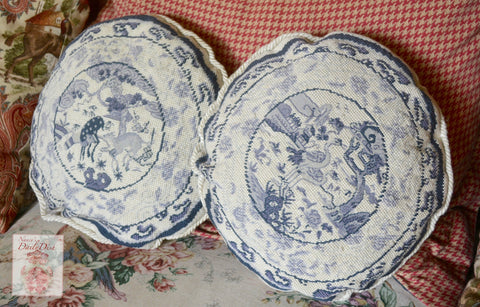 Pair of Vintage Needlepoint & Petit Point Chinoiserie Toile Blue Pillow