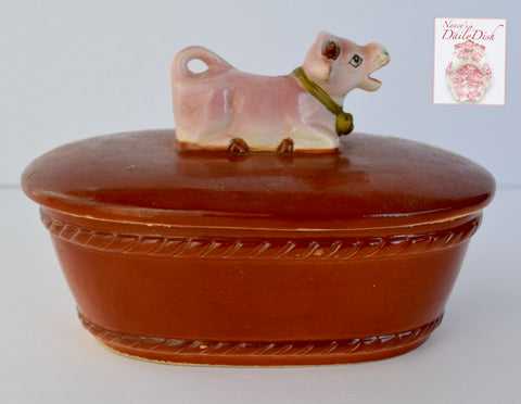 Vintage Figural Resting Cow Topped Lidded Butter Dish Tub Box or Tea Caddy