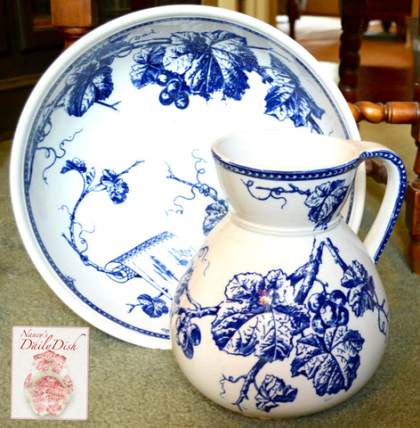 Antique Wash Basin & Pitcher 19C BWM Brown Westhead Moore Aesthetic Movement Blue Transferware Vines & Berries