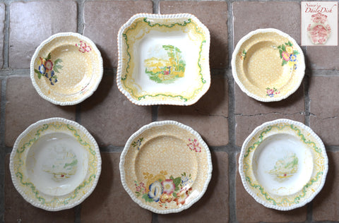 INSTANT WALL DISPLAY Set of 6 Mix n Match Vintage English Toile Yellow Transferware Spode Plates