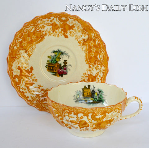 Large Yellow Transferware Tea Cup & Saucer Spode Copeland May Urn Roses Garden Scenery