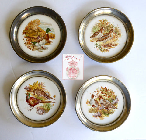 Set of Vintage English Coasters in Silver Encasings Game Bird  Pheasants Ducks Quail Geese