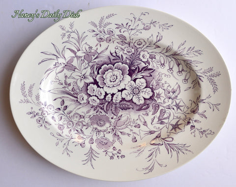 Antique Purple / Lavender Wedgwood English Cotswold Botanical Floral Platter