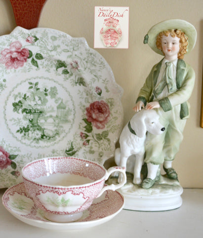 Antique Floral Pink & Green Bi Color Transferware Tea Cup & Saucer Circa 1830-40 Staffordshire