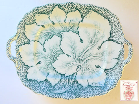 Dimmock Teal Green Transferware Footed & Handled Compote Platter Grape Leaf Chintz