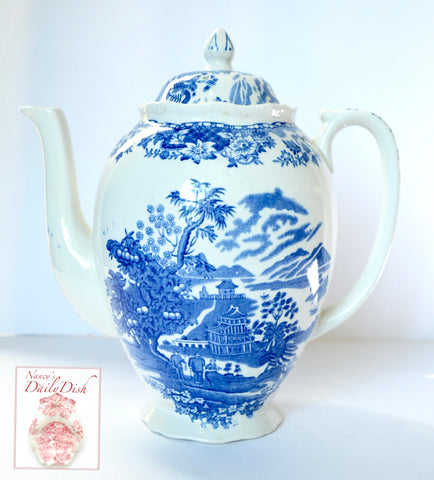 Antique Sea Port Scene Chinoiserie Teapot Coffee Pot Blue Transferware Wood & Sons Seaforth