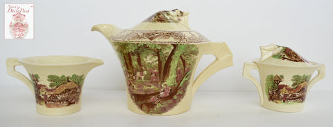 RARE Vintage Brown English Transferware Sugar & Creamer Rural Scenes Art Deco Clarice Cliff