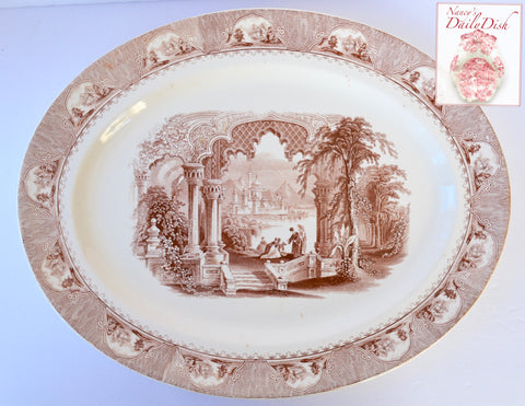"18"" Antique Staffordshire English Victorian Brown Transferware Platter Furnival European Garden on River Scene"