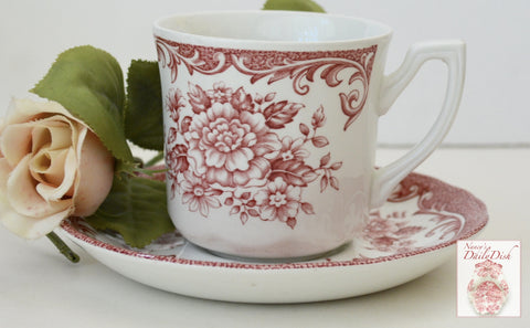 French Country Red Toile Pink Transferware Mug Cup & Saucer Cabbage Roses Daisies
