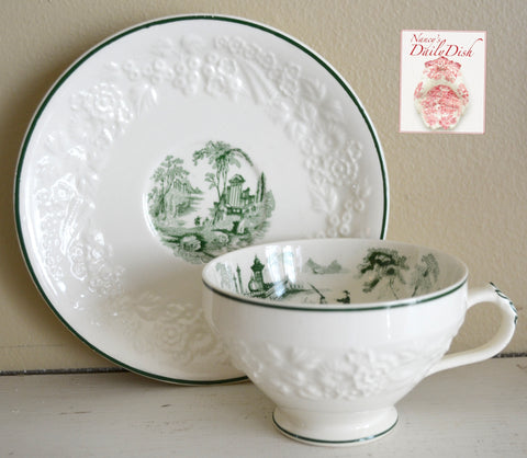 Antique Green English Transferware Cup and Saucer  Embossed Floral Border