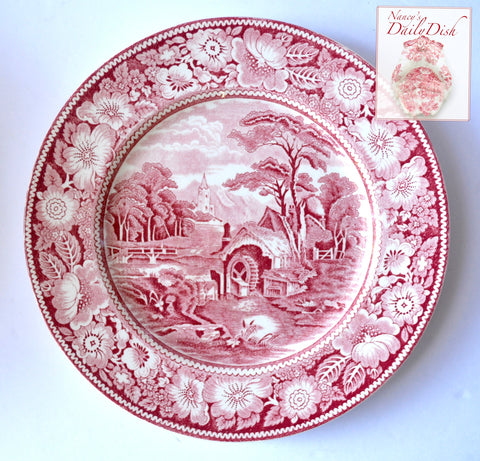 Red Transferware Pastoral Midwinter Rural England Plate Church Water Mill Stream Bridge Peony