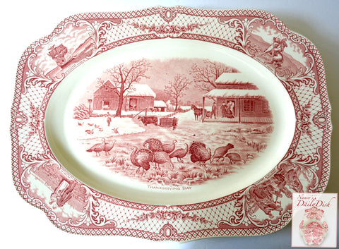 Antique Red Pink THANSKGIVING DAY Transferware Farmhouse with Flock of Turkeys Platter Crown Ducal Colonial Times